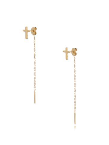 Kolczyki złote krzyżyki z łańcuszkiem KSA0189