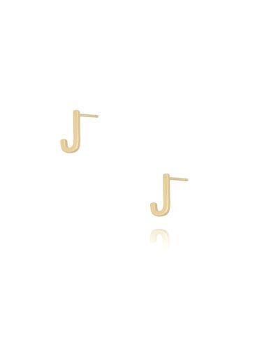 Kolczyki wkrętki z literką J złote KAT0013