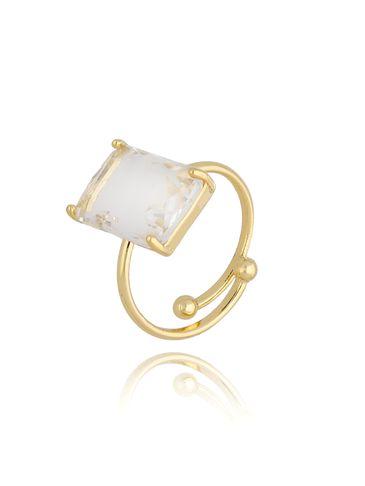 Pierścionek złoty z przezroczystym kryształowym oczkiem PTO0007