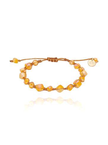 Bransoletka pleciona z pomarańczowymi kryształkami BBL0111