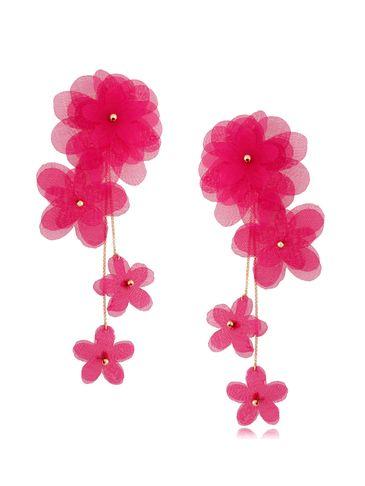 Kolczyki satynowe kwiaty  Blossom Fuchsia Primerose KBL0874