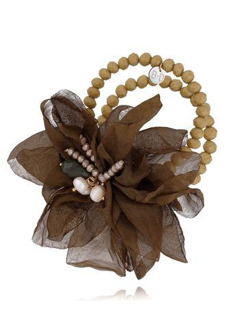 Bransoletka z kryształkami i  brązowym kwiatem  BBL0122