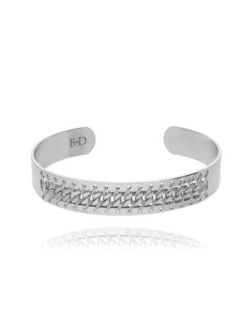 Bransoletka  srebrna obręcz zdobiona nicią BNE0034