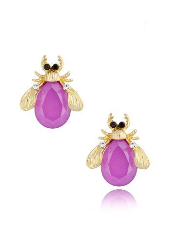 Kolczyki złote z kryształowymi chrabąszczami Violet May KMI0181