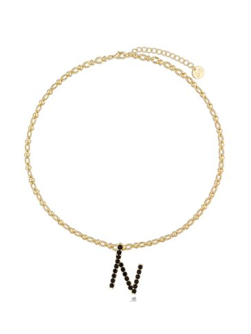 Naszyjnik złoty łańcuch z literą N NRG0229
