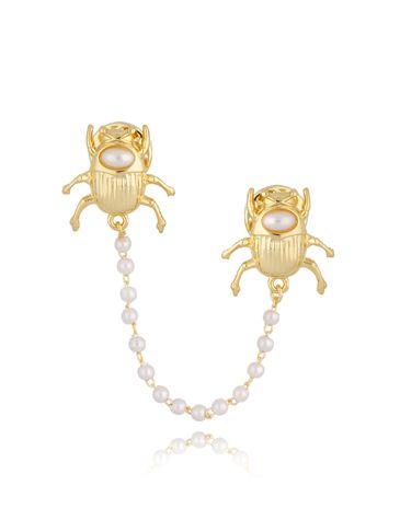 Broszka złota z owadami i perłą Golden Beetle BRMI0121