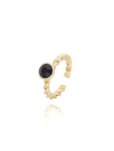 Pierścionek złoty z czarnymi kryształkami PRG0084 rozmiar 12