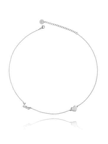 Naszyjnik srebrny z sercem  ze stali szlachetnej NSA0152