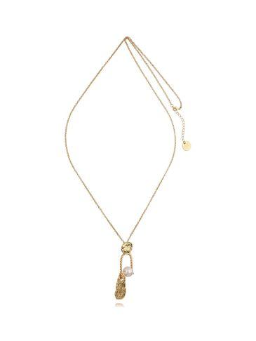 Naszyjnik złoty z perłą długi wisiorek NPE0002