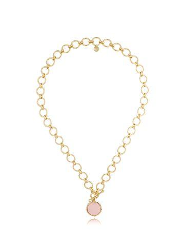 Naszyjnik złoty z różową zawieszką NTO0002
