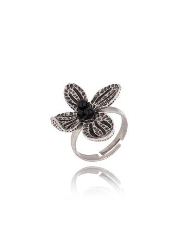Pierścionek srebrny kwiat z perełkami PPE0009