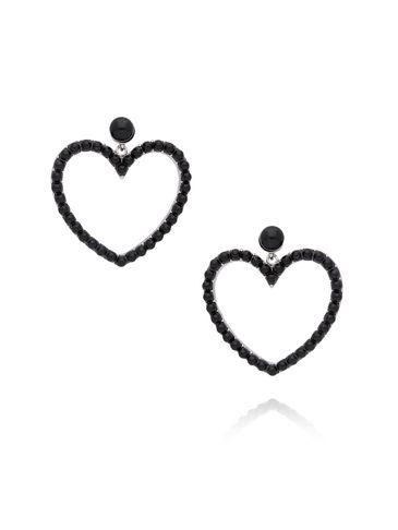 Kolczyki srebrne serca z czarnymi perełkami KRG0548