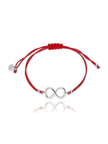 Bransoletka na sznurku czerwona - srebrna nieskończoność BGL0423
