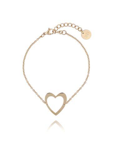 Bransoletka złota z sercem ze stali szlachetnej BSA0077