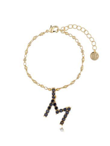 Bransoletka złoty łańcuch z zawieszką litera M BRG0145