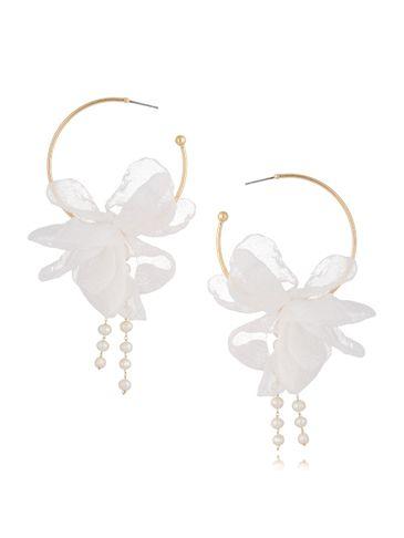 Kolczyki jedwabne kwiaty białe z perłami KBL0629