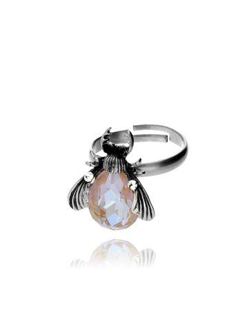 Pierścionek srebrny żuk z miodowym kryształkiem i cyrkoniami PMI0065