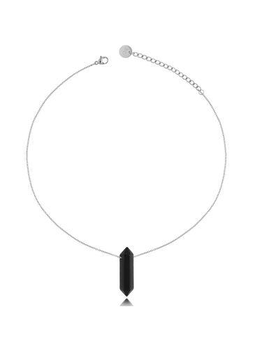 Naszyjnik z czarnym agatem srebrny 35 cm NLB0074