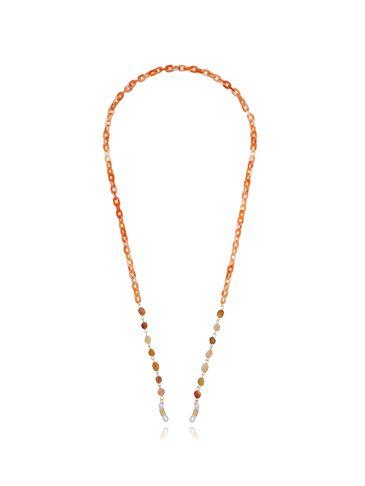 Łańcuszek do okularów z agatami pomarańczowy NPA0148
