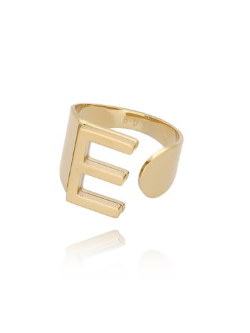 Pierścionek złoty ze stali szlachetnej z literką E PSA0046