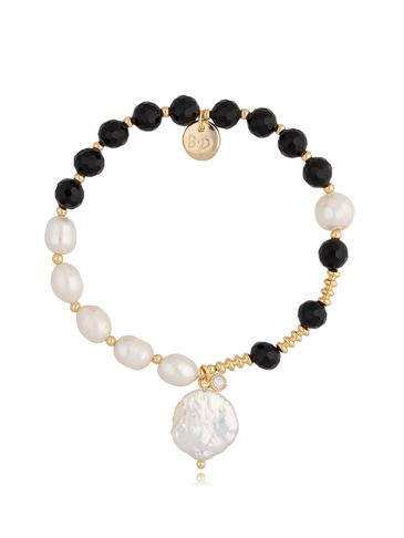 Bransoletka z agatami i perłami, z zawieszkami perła i cyrkonia BPA0087