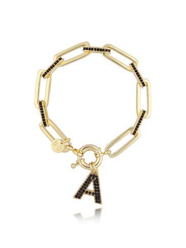 Bransoletka złoty łańcuch z zawieszką litera A BRG0139