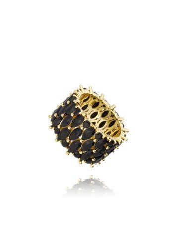 Pierścionek złoty z czarnymi kryształkami PRG0148 rozmiar 19