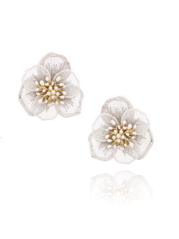 Kolczyki białe kwiaty z kryształkami KLI0014