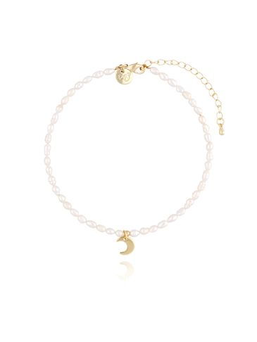 Bransoletka na nogę z perełkami i księżycem  BNPE0004
