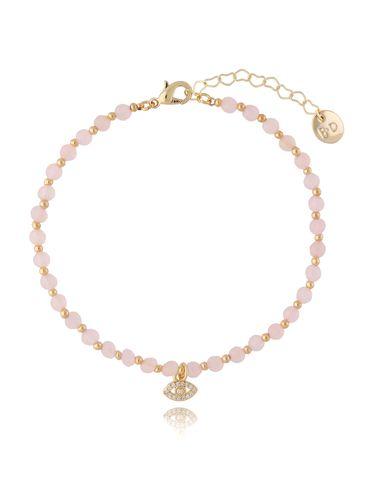 Bransoletka na kostkę z kwarcem różowym BNTW0039