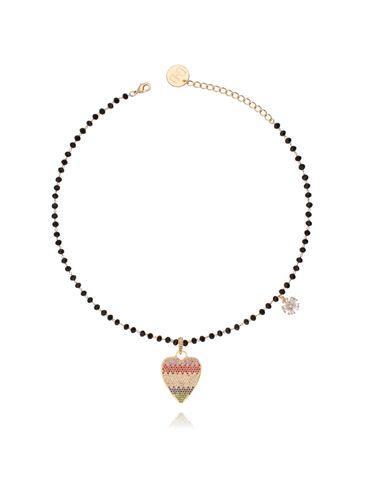 Naszyjnik ze szklanymi kryształkami i tęczowym sercem NMU0004