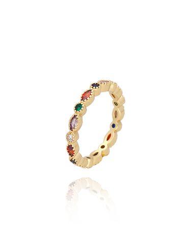 Pierścionek złoty z kolorowymi cyrkoniami PCO0008 rozmiar 16