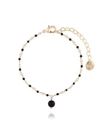 Bransoletka z kryształkami i jadeitem czarna BOA0012