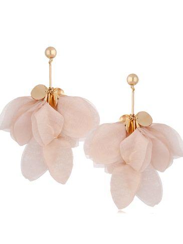 Kolczyki jedwabne kwiaty różowy beż KBL0772