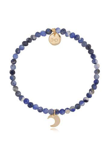 Bransoletka niebieska z szafirami i zawieszką księżyc BTW0484