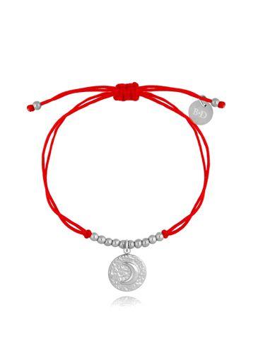 Bransoletka srebrno-czerwona z okrągłą zawieszką Moona BGL0496