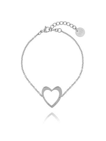 Bransoletka srebrna z sercem ze stali szlachetnej BSA0076