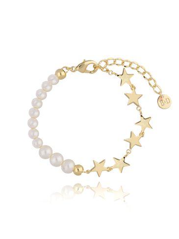Bransoletka złota z gwiazdkami i perłami BRG0180