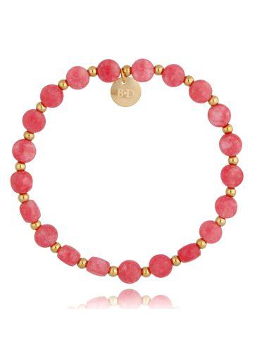 Bransoletka różowa z jadeitem Lips BSC0963