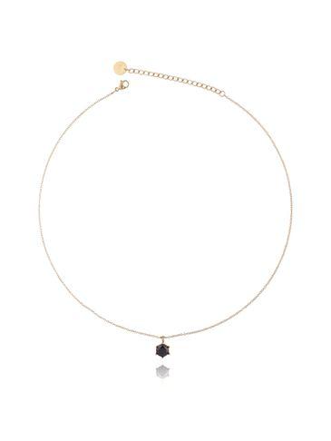 Naszyjnik złoty z kryształkiem ze stali szlachetnej NSA0115