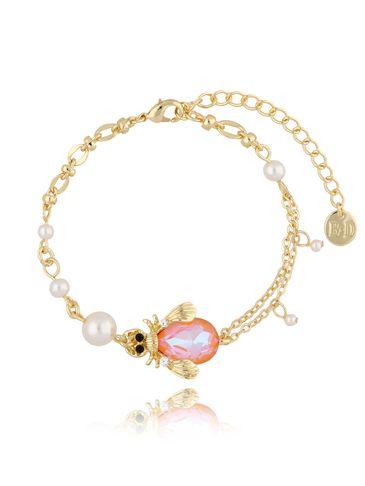 Bransoletka z perłami i brzoskwiniowym owadem BMI0064
