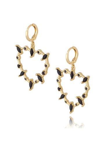Kolczyki serca złote z czarnymi cyrkoniami KRG0591