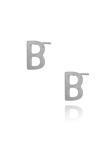 Kolczyki wkrętki srebrne z literką  B KAT0048