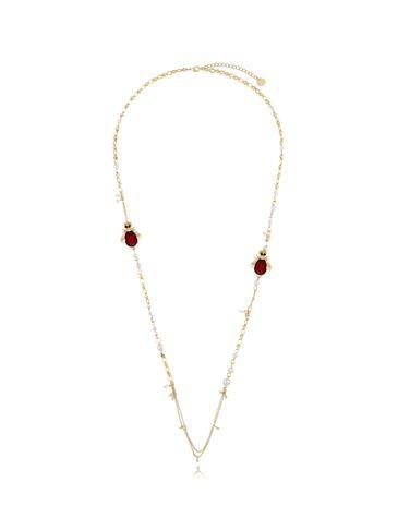 Naszyjnik z perłami i bordowymi owadami NMI0093