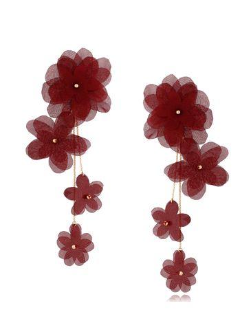 Kolczyki satynowe kwiaty  Blossom Burgundy Primerose KBL0877