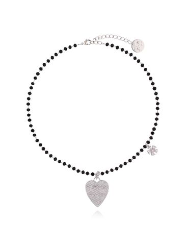 Naszyjnik ze szklanymi kryształkami i transparentnym sercem NMU0008