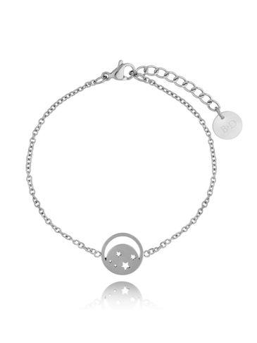 Bransoletka srebrna ze stali szlachetnej z księżycem  BSA0127