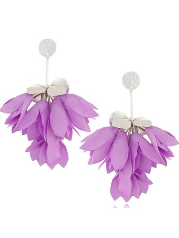 Kolczyki satynowe kwiaty jasny fiolet KBL0529