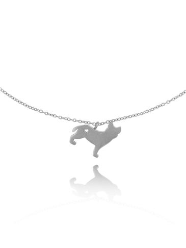 Naszyjnik srebrny z psem Hercules ze stali szlachetnej NPS0015