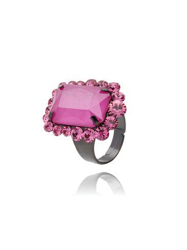 Pierścionek z kryształkiem różowy PSS0020